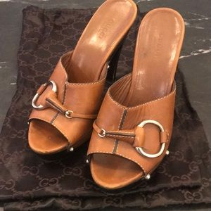 Brown Gucci wedges
